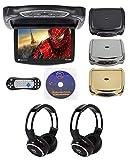 Rockville RVD14BGB Black/Grey/Tan 14' Flip Down DVD Monitor w/ Games and Headphones