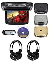 "Package Includes: (1) Rockville RVD14BGB Black/Grey/Tan 14"" Flip Down Car Monitor w DVD/HDMI/Games/USB, (2) Rockville RFH3 Wireless Universal Infrared IR Car Headphones for Any Car Monitor Features of RVD14BGB: Rockville RVD14BGB Black/Grey/Tan 14"" F..."