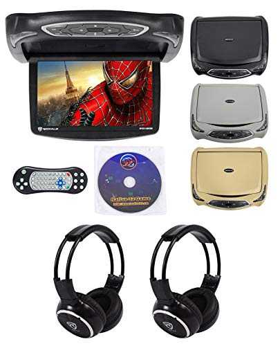 Rockville RVD14BGB Black/Grey/Tan 14' Flip Down DVD Monitor w/ Games and Headphones