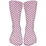 Calcetines clásicos para mujer, color rosa y blanco con rayas personalizadas, 30 cm de largo para todas las estaciones.