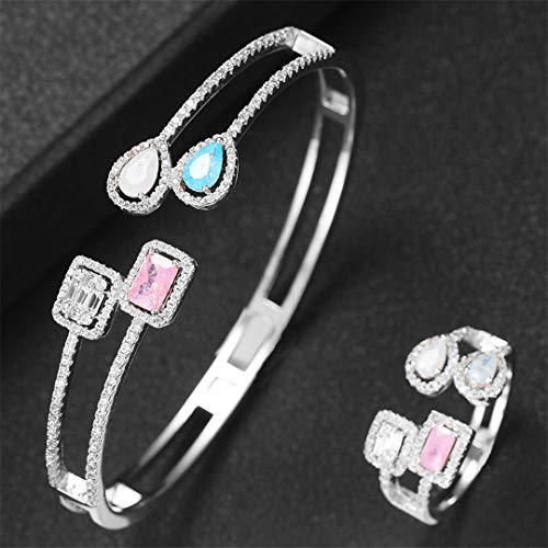 ZIRCOSHNY - Conjunto de anillos de boda para mujer, circonita cúbica, resizable