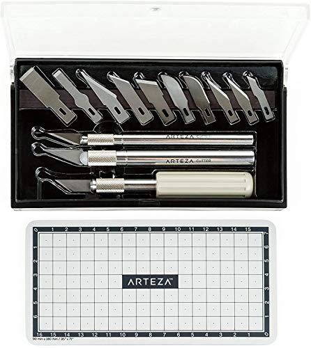 Arteza Ensemble Cutter/Couteau de Précision Pour Travail d'art, Modélisme, Kirigami, Scrapbooking, Sculpture, Bricolage (kit de 17 Pcs) en Coffret Avec Multi-Lames Acier Japonais SK-5