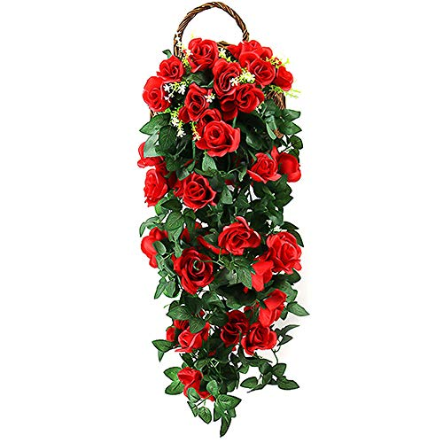 FYSL Natural Artificial Hanging Flowers Artificial Flower Vine Artificial Rose Garland,Fake Rose Vine Flowers Plants for Wedding Backdrop Wall Decor,Red