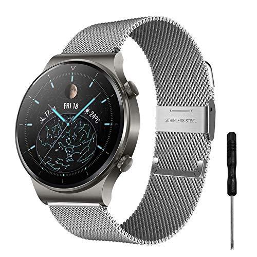 YHC Correas para Huawei Watch GT2 46mm/GT 2 Classic/GT 2 Pro Correa,Pulseras de Metal Compatible con Huawei Watch GT Sport Active Classic 46 mm
