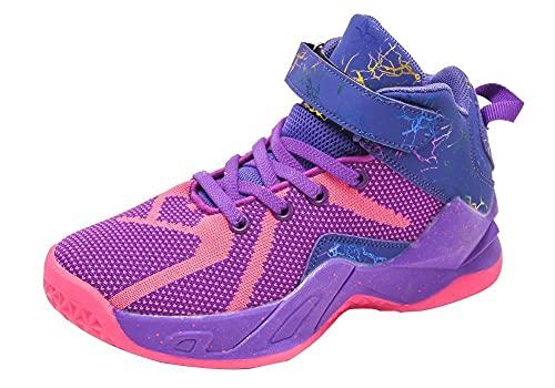 AOOAR Zapatillas de baloncesto para jóvenes, para deportes y actividades al aire libre., color Morado, talla 35 EU