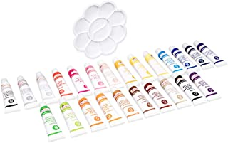 Invero 25 Piece Acrylic Paint Set Kit - Including Mixing Palette - Mixed Colours, Quick Dry and Waterproof - Ideal for All...