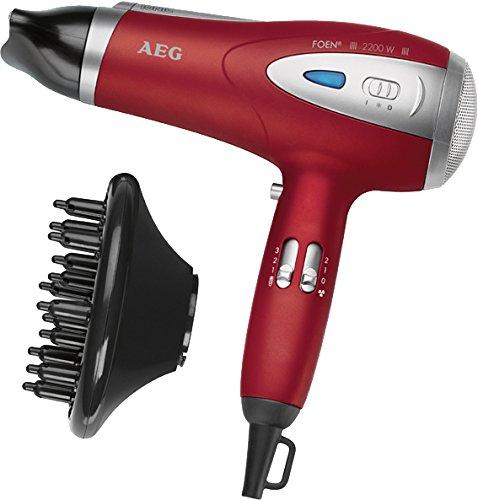 AEG HTD 5584 - Secador de pelo profesional iónico con difusor, 3 niveles de temperatura, 2 velocidades, 2200 W, color rojo