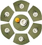 SHACOS Set di 7 Tovaglietta da tavola Rotonda Tovagliette PVC termoresistenti Lavabili (Verde,7)