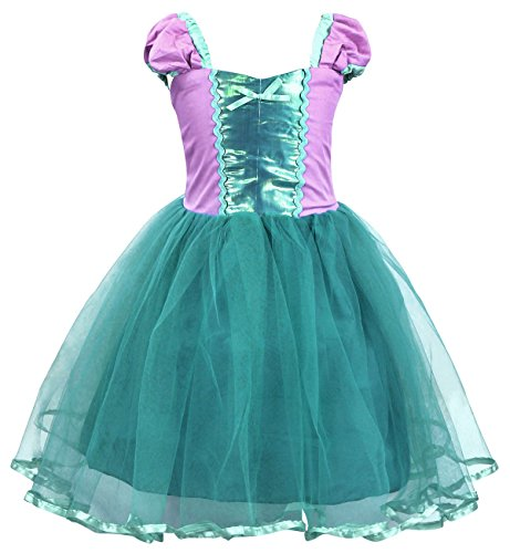 AmzBarley prinsesjurk, zeemeermin kostuum, kinderen meisjes, Ariel jurk, feest, cosplay, chique jurk, casual, zomerjurk, Halloween, carnaval, verjaardag, aankleding.