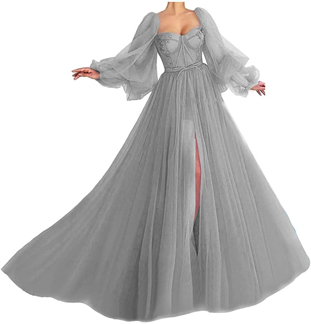 RTB Puffy Sleeves Prom Dresses Long Sweetheart Tulle Ball Gowns for Women Formal