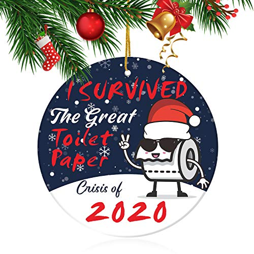 2020 Funny Quarantine Gifts - I Survived The Great Toilet Paper Crisis of 2020, Quarantine Xmas Gifts Presents, 2020 Christmas Tree Ornaments Quarantine Gift for Friends Family