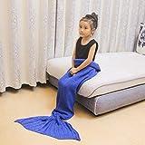 LPZ Mermaid Couverture Parent-Enfant Couverture pondérée Version coréenne Girl Couverture Tricoté Climatisation Canapé Literie Couverture de Couchage (Color : Blue)