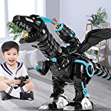 SNAEN Multifunctional Remote Robot Dinosaur with Mist Spray/ Soft Bullets Shooting, Interactive Electronic Fire Breathing Dragon with Programming, Intelligent Walking T-rex Toy Gift for Kids