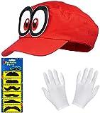 Super Mario Odyssey Mütze rot im Komplettset mit weißen Handschuhen und Klebe-Bärten für...