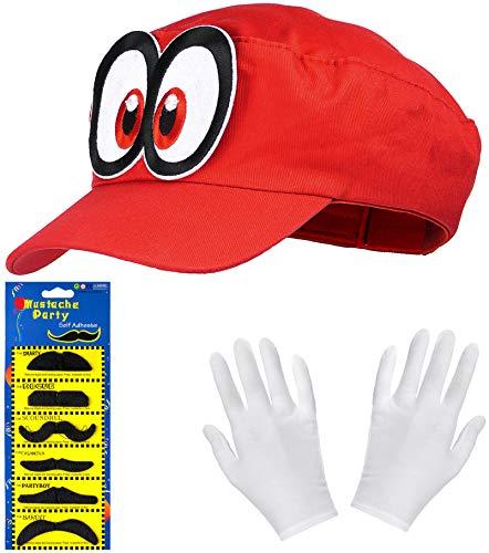 Super Mario Odyssey Mütze rot im Komplettset mit weißen Handschuhen und Klebe-Bärten für Erwachsene und Kinder Karneval Fasching Motto Party Verkleidung Kostüm Mützen Hut Cap Herren Damen Kappe