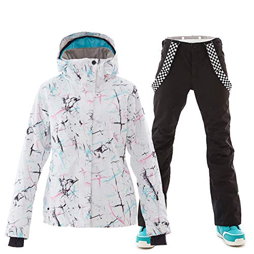YOJOLO Damen Ski Jacken Hosen Wasserdicht Winddicht Atmungsaktiv Snowboard Snowsuit Ski Outfits Set,A,XL