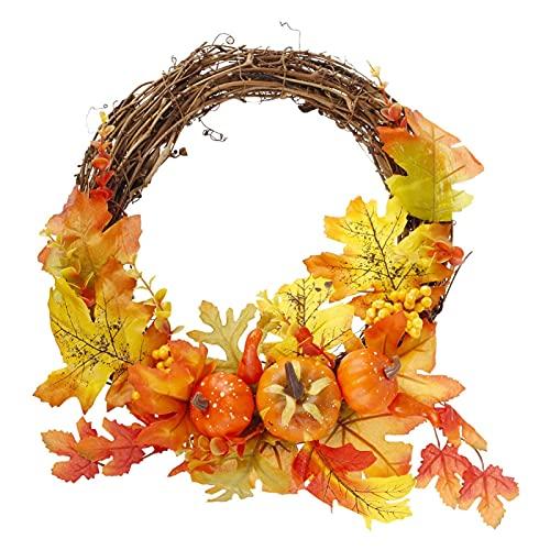 ハロウィーンの花輪の人工カエデの葉のカボチャの花輪ハロウィーンのドアの装飾感謝祭の秋の花輪 (Color : A, サイズ : 28*34cm)