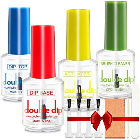 Dip Powder Nail Essential Set USA MADE Top Coat Base Coat Activator Brush Cleaner for Nail Art product image