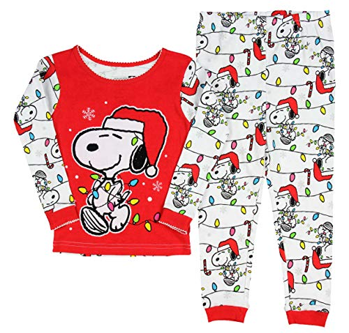 Peanuts Snoopy Little Girls Toddler Christmas Pajama Set (2T)