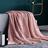 JINCHAN Throw Blanket Pink Lightweight Cable Knit Sweater Style Year Round Gift Indoor Outdoor Travel Accent Throw for Sofa Comforter Couch Bed Recliner Living Room Bedroom Decor 50x60 Inch