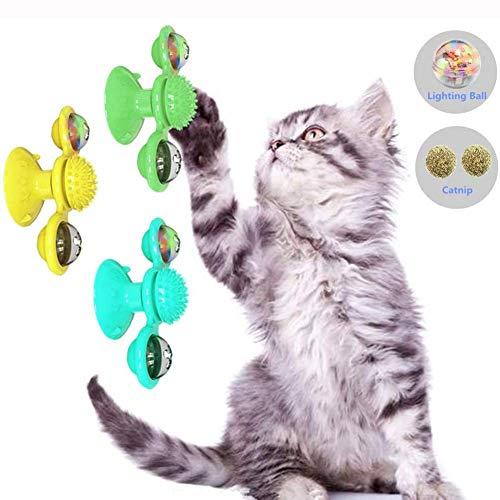 BLCVC Upgrade Rotary Windmill Cat Toy - Interaktives Katzenspielzeug mit Backenzahn- / Zahnreinigung/Training/Juckreiz/automatischem Füttern/Angst lindern/IQ verbessern