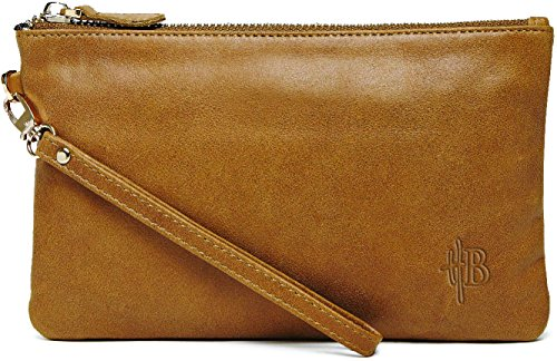 Mighty Purse Geniune Leather Phone Charging Wristlet, Almond Brown, OS
