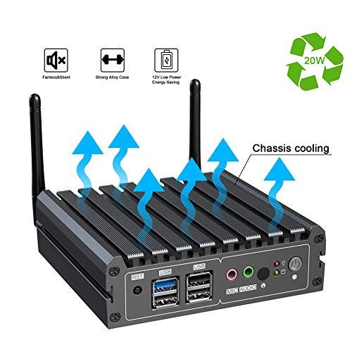 Mini Industrial PC Office, J1900 Quad Core Dual Gigabit Network WiFi, DP + HDMI Dual-Video Output, 2 GB DDR3 RAM, 32 GB extra grote SSD, pre-installatie voor Windows 10(EU-stekker)