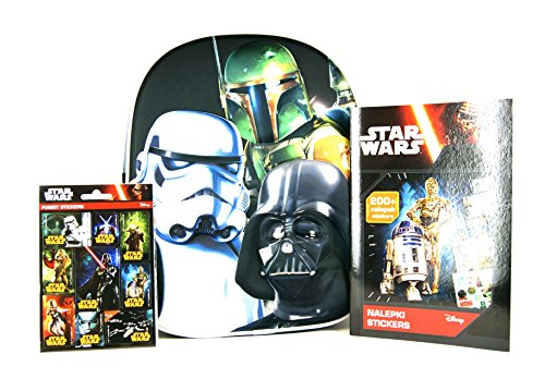 Super Star Wars Set - 3D Kinderrucksack Kita Tasche - Motiv: Darth Vader, Boba Fett, Stormtrooper - ca. 25x31x10cm + Sticker-Heft mit 200 Star Wars Stickern und 9 Ausmal-Seiten + 16 Star Wars Sticker