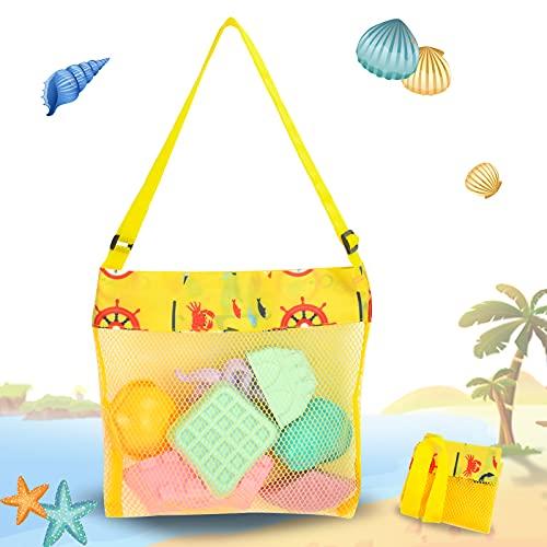 Borsa da Spiaggia, borsa mare grande, borsa spiaggia, riutilizzabile,Adatto per vacanze in famiglia, adatto per dragare giocattoli, deposito di giocattoli (23 * 23cm, Giallo)