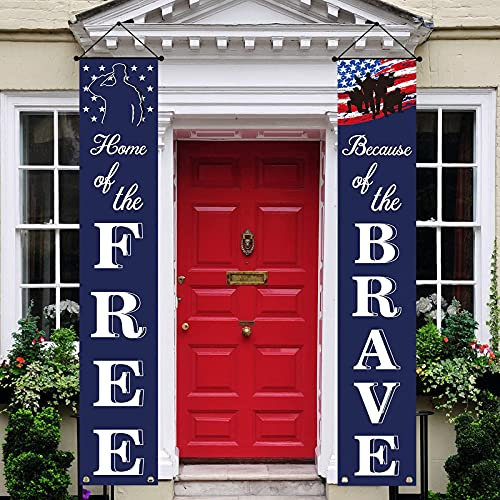 """Patriotic Soldier Porch Sign Banners -""""HOME of the FREE"""" and """"Because of the BRAVE""""- 4th of July Decor - American Flag Hanging Banner for Independence Day/ Memorial Day/ Veterans Day/ Labor Day"""