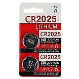 KeylessOption 2025 Battery Long Lasting 3v Lithium for Keyless Entry Remote Smart Key Fob Alarm Head Flip Keys CR2025 (2 Count)