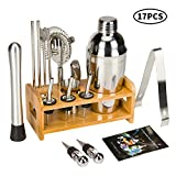 17 Piece Cocktail Shaker Set Bartender Kit for Drink Mixing - Bar Tools with Stand, Home Bartending Kit Stainless Steel Cobbler Shaker Set Boston Shaker Set