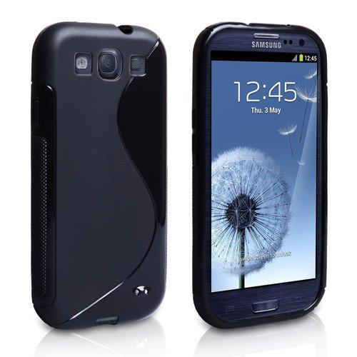 itronik® Designer Schutzhülle für Samsung Galaxy S3 S 3 III i9300 Silikon TPU Hülle Etui Tasche Hülle Hard Cover S S-Line Schwarz Black