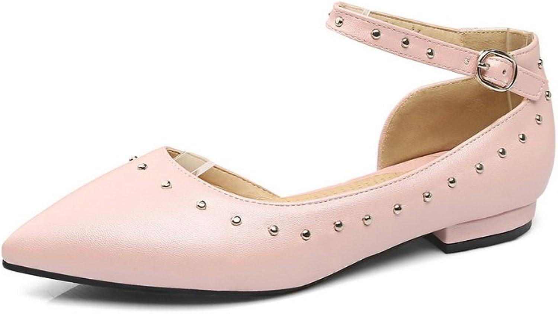 BalaMasa Ladies Buckle Grommets Pointed-Toe Urethane Mary Jane Flats