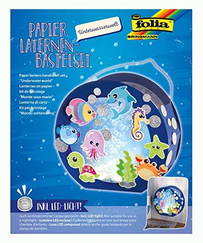 folia 68105 - Laternen - Bastelset, Unterwasserwelt, inklusive Laternenstab und LED-Licht