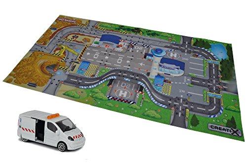 Majorette 212056412 Creatix Playmat Construction, Spielmatte, 96x51,2cm, inkl. Renault Baufahrzeug, Die-Cast, 7,5cm