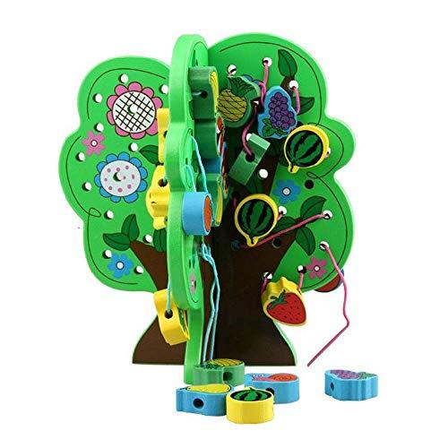 QINGJIA Los niños construyen Bloques Grande de Cordones de Cordones para niños, inclinación de Cuentas para niños pequeños, Juguete, Granos de Madera, Animales, Bloques, Juguetes educativos creativos