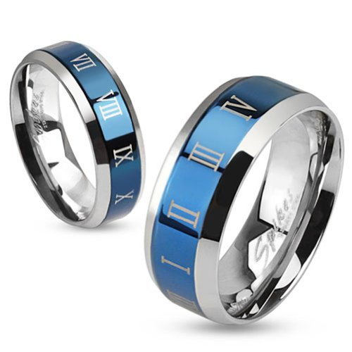 Tapsi´s Coolbodyart®|Finger Ring Edelstahl 8mm Breit Römisch Ziffer Blau Silber 60(19)