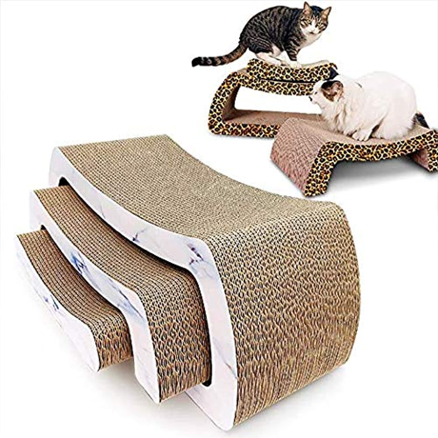 Cat Scratch Board,Folded MultiLayer MShaped Corrugated Paper cat Scratch Board cat Claw Toy for Multiple Cats to Play Together