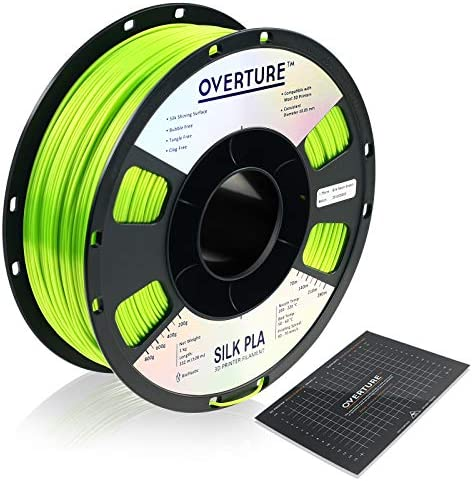 OVERTURE Silk Filament PLA 1 75mm with 3D Build Surface 200 x 200 mm Clog Free Shiny 3D Printer product image