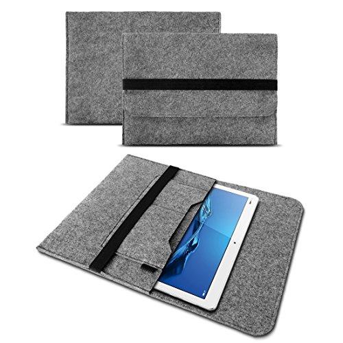 UC-Express Tablet Tasche Schutzhülle aus strapazierfähigem Filz mit praktischen Innentaschen Sleeve Hülle Tasche Cover Notebook Hülle, Farben:Grau, Tablet Modell für:ODYS Neo Quad 10