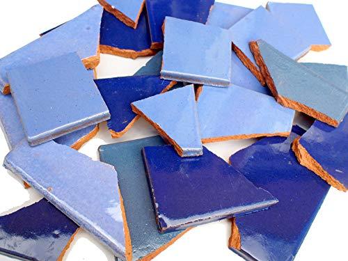 tierra-y-manos Blau-Töne: Bruchmosaik, Mosaikfliesen aus handgefertigten mexikanischen Fliesen - 900g