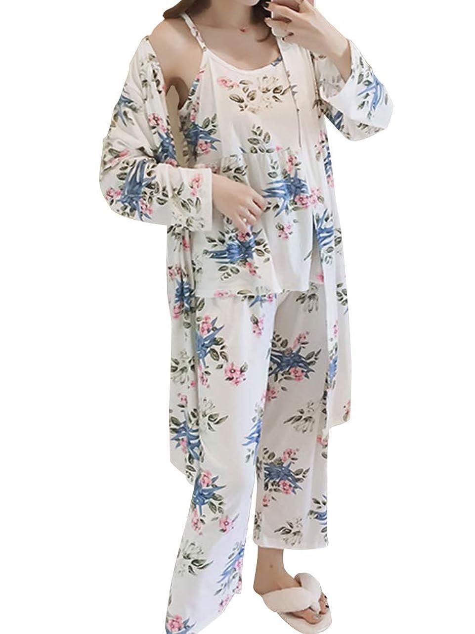 邪魔する八今まで[ニーマンバイ] 花柄 ルームウェア 3点セット 抜け感 部屋着 パジャマ キャミソール レディース M~XL