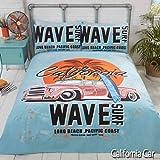 Rapport - Juego de Funda de edredón y Funda de Almohada para Cama de Matrimonio, diseño Retro de California Surf Board en una Playa con Palmera y Coche Vintage, Color Azul