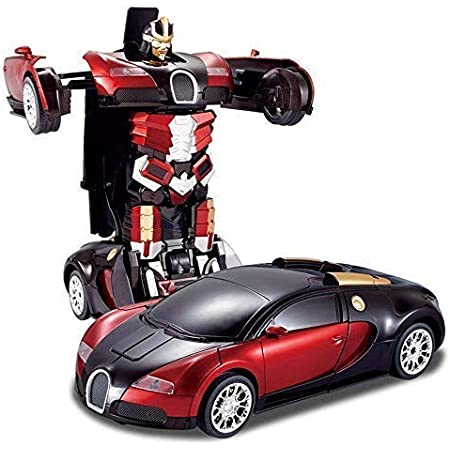 Brand Conquer Robot Races Car Toys Friction Family Toy Racing Car - Automatic Convert from CAR to Robot with 4D Light (Red and Blue).