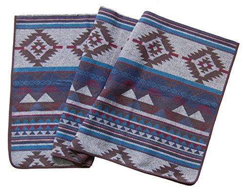 Ruth&Boaz Outdoor Decke aus Wollmischgewebe mit ethnischem Inka Muster (L) (saphir, 60