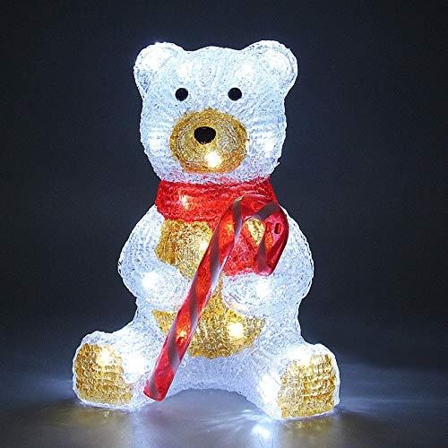 Deuba Oso de peluche sentado LED adorno de Navidad acrilico figura decorativa iluminación decoración interior exterior