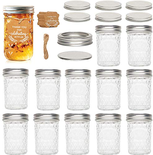 UHAPEER Mason Jars 8 oz, lote de 12 botes de conservas con tapas, etiquetas, cuerda de cáñamo, frascos de gelatina para mermelada, miel, regalos de boda, comida para bebés