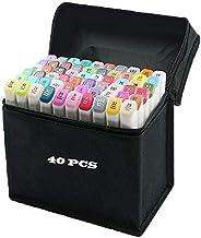 40 Color Rotuladores Artísticos Arte dibujo Doble Amplia Marcador Punta Fina de Gráfico se Puede Pintar Para los Niños, Dibujar Bocetos Artísticos, Colores Subrayados (40 Color white)