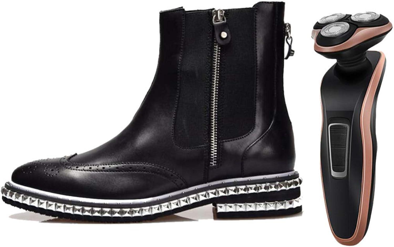 LZMEG Pointed Man's Zipper Boots svart Soft Leather Leather Leather Andable Gentleman Youth Varje dag  begränsad utgåva